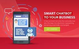 Chatbot和未来营销概念 站点的现代横幅 手机对话框  Chatbot企业概念 智能手机 库存图片