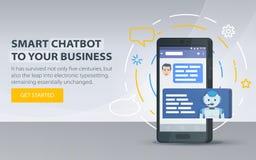 Chatbot和未来营销概念 Chatbot企业概念 站点的现代横幅 手机对话框  智能手机 免版税库存图片