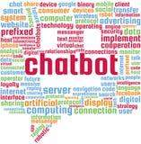 Chatbot词云彩在一个讲的泡影马胃蝇蛆的形状的文本例证 免版税库存图片