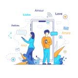 Chatbot переводит сообщения в социальных сетях иллюстрация штока