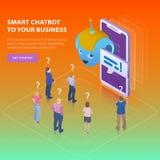 Chatbot и будущая концепция маркетинга Плоская равновеликая идея проекта 3d Люди просят вопросы chatbot Жулик дела Chatbot Стоковое Фото