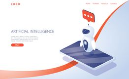 Chatbot or artificial intelligence network concept in isometric vector illustration. Neuronet, ai technology background stock photos