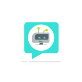 Chatbot in chatting bubble speech vector icon, chat bot service logo, robot head. Chatbot in chatting bubble speech vector icon, chat bot service logo isolated Stock Photography