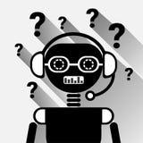 Chatbot com bot de Mark Icon Concept Black Chat da pergunta ou serviço de Chatterbot da tecnologia em linha do apoio Fotos de Stock
