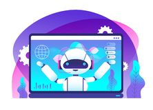Chatbot concept. Ai robot advices clients. Hotline customer service. Virtual support and mobile assistance vector. Background. Illustration of robot ai support stock illustration