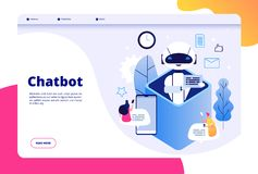 Chatbot concept. Chat with android woman man talking with mobile phone to ai application bots help human future royalty free illustration
