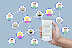Chatbot concept with instant messenger displayed on smart phone Stock Photography