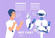 Chatbot concept. Man chatting with chat bot. Customer support service vector illustration royalty free illustration