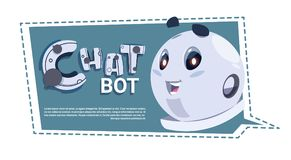 Chatbot Cute Robot Template Banner With Copy Space, Chatter Or Chatterbot Technical Support Chat Bot Service Concept. Flat Vector Illustration Royalty Free Stock Photo