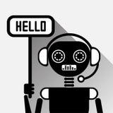 Chatbot diz olá! o bot do bate-papo do preto do conceito do ícone ou o serviço de Chatterbot da tecnologia em linha do apoio Imagem de Stock