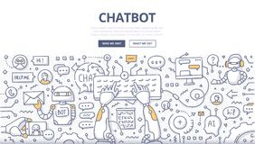 Chatbot Doodle Concept. Doodle vector illustration of a robot communicating online, typing on keyboard. Chatting bot technology. Chatbot concept for web banners vector illustration