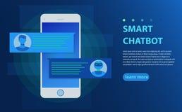 Chatbot e conceito futuro do mercado Pessoa que conversa com bot do bate-papo na ilustração do vetor do telefone celular ilustração stock