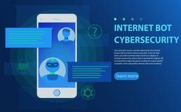 Chatbot et futur concept de vente Personne causant avec le bot de causerie dans l'illustration de vecteur de téléphone portable illustration libre de droits