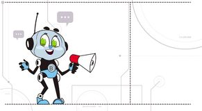 Chatbot Hold Megaphone Robot Support Technology Cute Chatter Chatacter Virtual Assistance Concept. Vector Illustration royalty free illustration