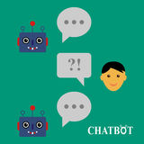 Chatbot and human conversation vector illustration