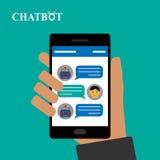 Chatbot and human conversation on smartphone. Illustration royalty free illustration