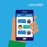 Chatbot and human conversation on smartphone royalty free illustration
