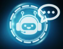 Chatbot illustration 3D rendering Royalty Free Stock Images