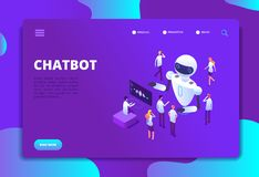 Chatbot isometric concept. Bot chatting with people. Artificial intelligence conversation future technology vector stock illustration