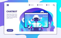 Chatbot landing page. Ai robot chatting with woman and man. Artificial intelligence presentation vector concept. Illustration of page support with chatbot royalty free illustration