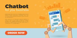 Chatbot landing page. Chat bot landing page design. Vector illustration of robot hands holding smartphone. Icons on background, flat style. Virtual chatbot Stock Image