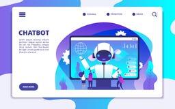 Chatbot landningsida Ai-robot som pratar med kvinnan och mannen För presentationsvektor för konstgjord intelligens begrepp royaltyfri illustrationer