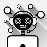 Chatbot In Laptop Icon Concept Black Chat Bot Or Chatterbot Service Of Online Support Technology stock illustration