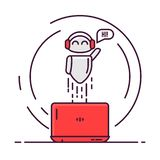 Chatbot and laptop. Robot with laptop flies up, smiling, and say hi. Happy bot with headphones. Chat bot or online communication with chatbot. Artificial vector illustration