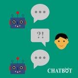 Chatbot och mänsklig konversation Fotografering för Bildbyråer