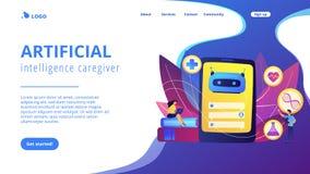 Chatbot in pagina d'atterraggio del healthcareconcept illustrazione di stock