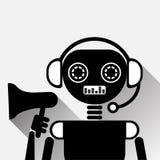 Chatbot que guarda o bot do bate-papo do preto do conceito do ícone do megafone ou o serviço de mercado de Chatterbot da tecnolog Fotografia de Stock