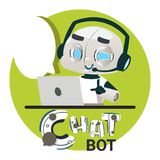 Chatbot Robot Icon Chatter Bot Answer Users Questions Using Laptop Computer Virtual Assistance Concept. Flat Vector Illustration Stock Photo