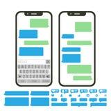 Mobile Screen Messaging Vector. Chat Bot Bubbles Set. Mobile App Messenger Interface. Communication Concept. Smartphone Stock Images