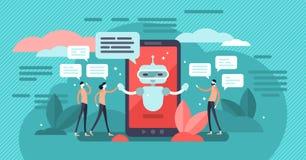 Chatbot wektoru ilustracja Mini persons rozmowa z cyfrowym robota pojęciem royalty ilustracja