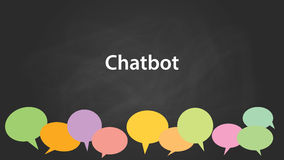 Chatbot white text illustration with colourful callouts and black background Royalty Free Stock Photos