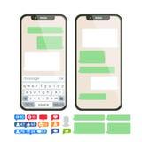 Chatbot wiadomości tekstowej wektor Gadki larwy bąbla Ustalony szablon Nowożytny Mobilny Podaniowy gona interfejs Smartphone ilustracji