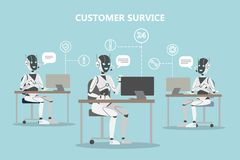 Chatbots customer service. Robots with headset answering questions Stock Photography