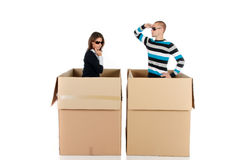 Chatbox blind date couple Stock Photos