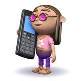 Chate der Hippie 3d auf seinem Mobiltelefon Lizenzfreie Stockbilder