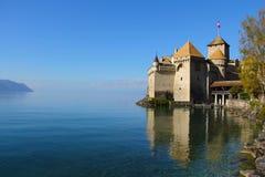 Chateau在Montreaux,瑞士附近的de Chillon 库存图片