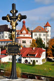 Chateau. Castle and Chateau Jindrichuv Hradec in the South Bohemian and cross with Christ royalty free stock images