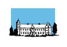 Chateau. Hand drawn illustration of an old european castle Stock Photography
