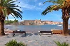 Chateau av Colliour i sydliga Frankrike Royaltyfri Foto