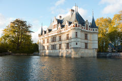 Chateau Azay-le-Rideau, Loire, France at sunset Royalty Free Stock Photo