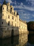 Chateau. Beautiful river blue natur royalty free stock photo