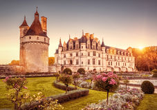 Chateau castle de Chenonceau at sunset, France. The Chateau de Chenonceau at sunset, France. This castle is located near the small village of Chenonceaux in the royalty free stock photos