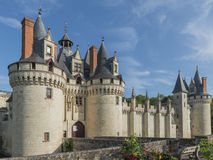 Chateau Castle Dissay France. Great Chateau Castle of Dissay in France with several towers and bridge royalty free stock images