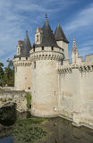 Chateau Castle Dissay France. Great Chateau Castle of Dissay in France with several towers and bridge royalty free stock photos