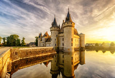 The chateau (castle) of Sully-sur-Loire at sunset, France Royalty Free Stock Photography