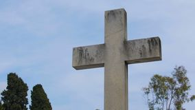 Chateau Cemetery in Nice, France, old stone crosses and monuments sequence